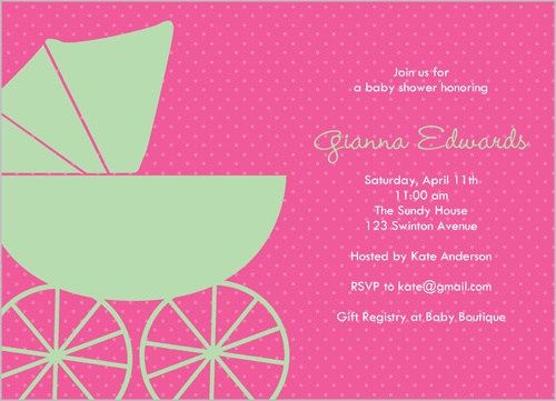 Shutterfly Baby Buggy Girl Baby Shower Invitation